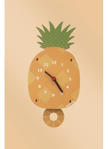Peoples Clock Ananas Sallanan Sarkaçlı Çocuk Odası Duvar Saati Renkli
